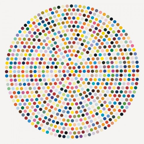 DAMIEN-HIRST-Zirconyl-Chloride-2008-Household-gloss-on-canvas-84-inches-diameter-e1328195059823